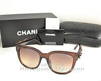 Женские солнцезащитные очки Chanel Leather Flowers цветные коричневые женственная модель Шанель реплика
