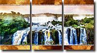 "Модульная картина ""Большой водопад""  (500х940 мм)  [3 модуля]"
