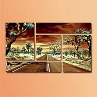 """Модульная картина """"Дорога через пустыню""""  (800х1380 мм)  [5 модулей]"""