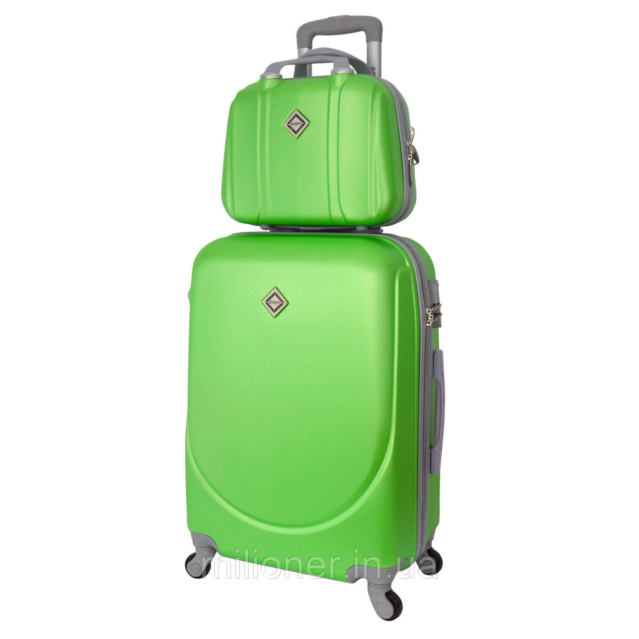 Комплект чемодан + кейс Bonro Smile (средний) салатовый