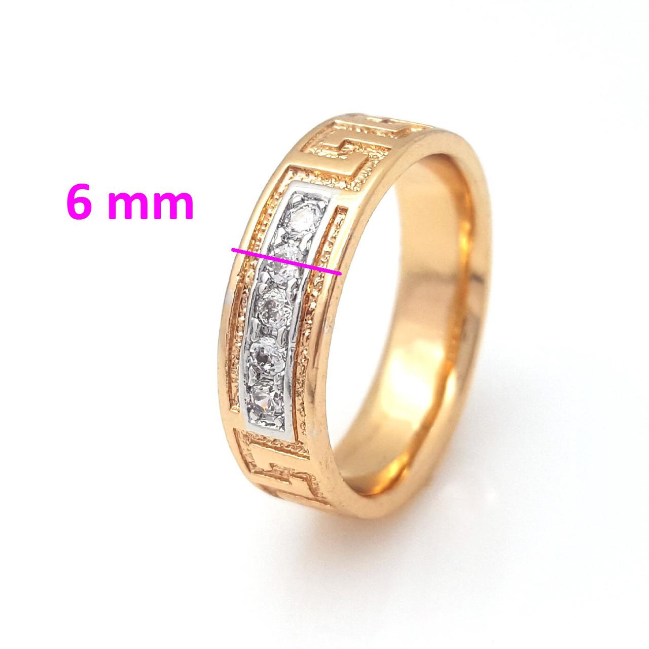 Кольцо с Греческим узором, инкрустация камнями, р.16,5, р.17, р.18, р.19 позолота+родий