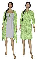 Комплект женский 18038 Amarant Paisley Olive, ночная рубашка с теплым халатом, р.р.42-56