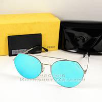 Солнцезащитные очки Fendi Eyeline зеркальные голубые универсальная модель качество люкс Фенди реплика, фото 1
