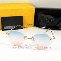 Женские солнцезащитные очки Fendi Геометрические цветные голубые розовые стильная новинка Фенди люкс реплика, фото 1