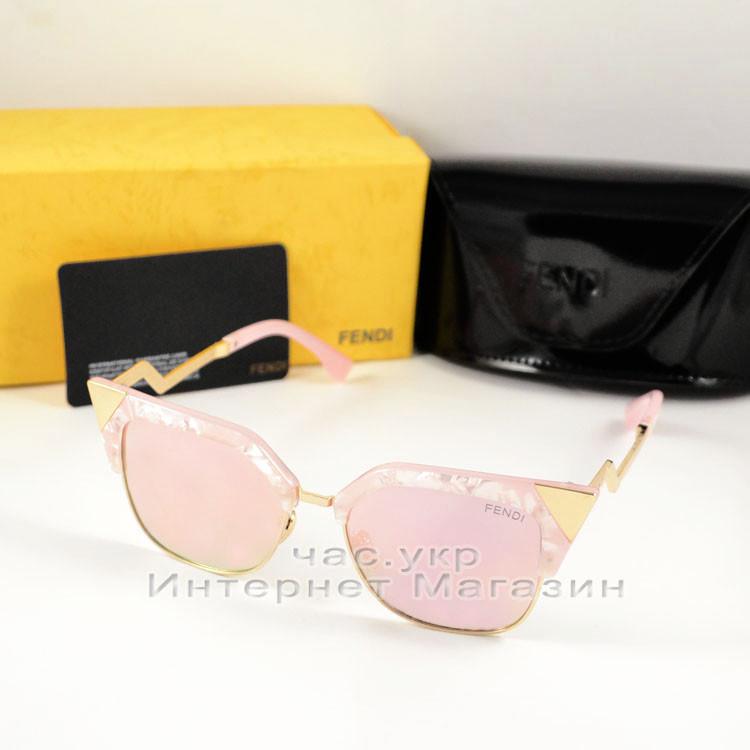 Женские солнцезащитные очки Fendi Iridia Кошачий глаз зеркальные розовые яркие ульрастильные люкс реплика