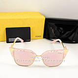 Женские солнцезащитные очки Fendi Iridia Кошачий глаз зеркальные розовые яркие ульрастильные люкс реплика, фото 6
