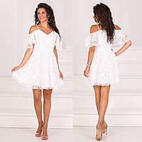 """Красивое белое короткое вечернее, коктейльное платье """"Пиано"""""""