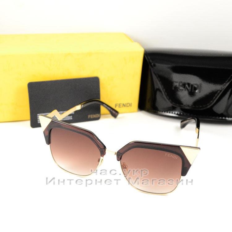 Солнцезащитные очки Fendi Iridia Кошачий глаз цветные коричневые эффектная стильная новинка Фенди люкс реплика