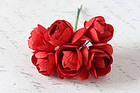 Декоративные цветы камелии диаметр 5 см красного цвета, фото 1