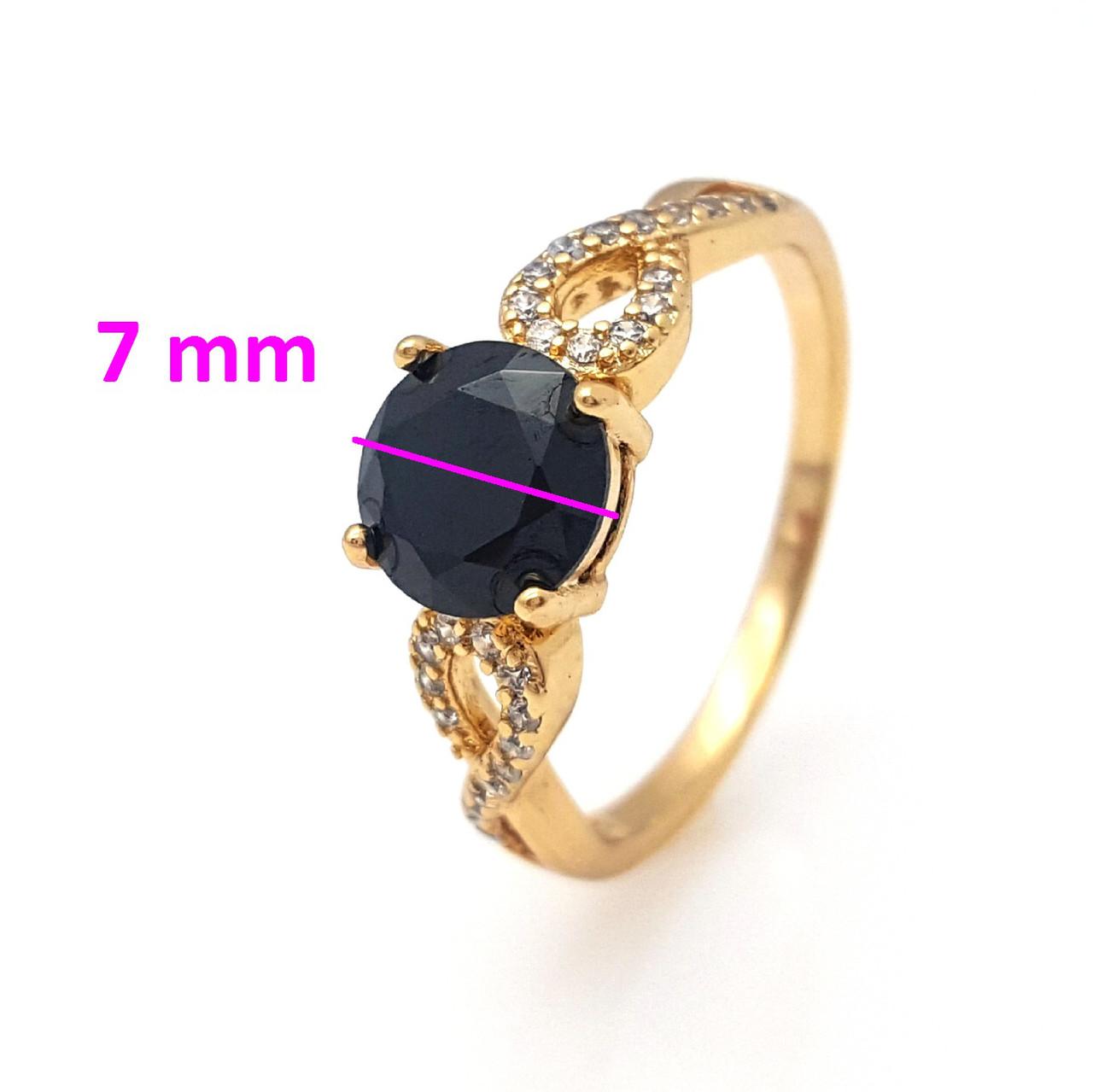 Кольцо позолоченное, с черным цирконием, р.17, р.18, р.18,5