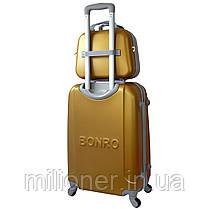 Комплект чемодан + кейс Bonro Smile (средний) золотой, фото 2