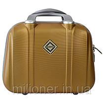 Комплект чемодан + кейс Bonro Smile (средний) золотой, фото 3