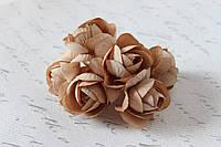 Декоративные цветы камелии диаметр 5 см кофейного (коричневого) цвета, фото 1