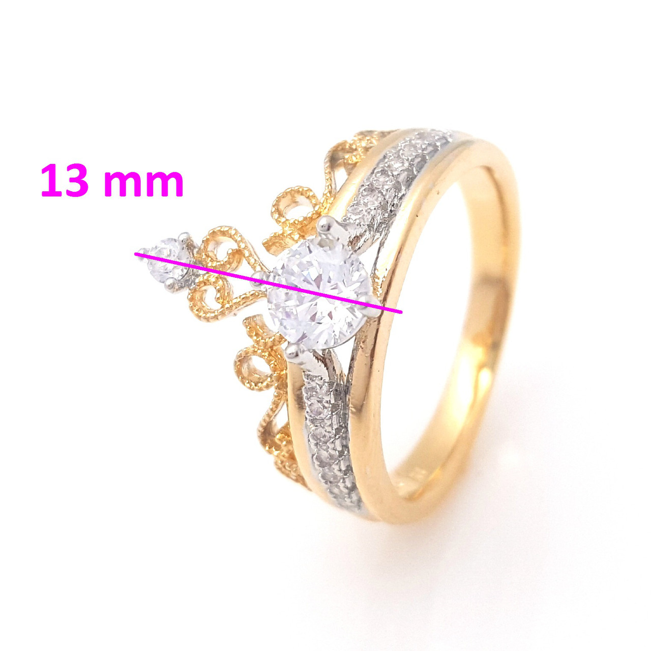 Кольцо Корона с цирконием, р.16, р.17, р.18, р.18,5, р.19,5 позолота+родий