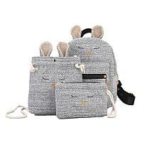 Модный оригинальный рюкзак с ушками + сумочка + клатч ,серый, фото 1
