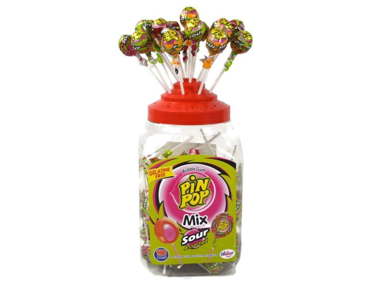 Леденец кислый микс Pin Pop Sour Mix 100 шт. с жевательной резинкой
