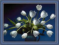 Репродукция картины современной  «Букет белых тюльпанов»
