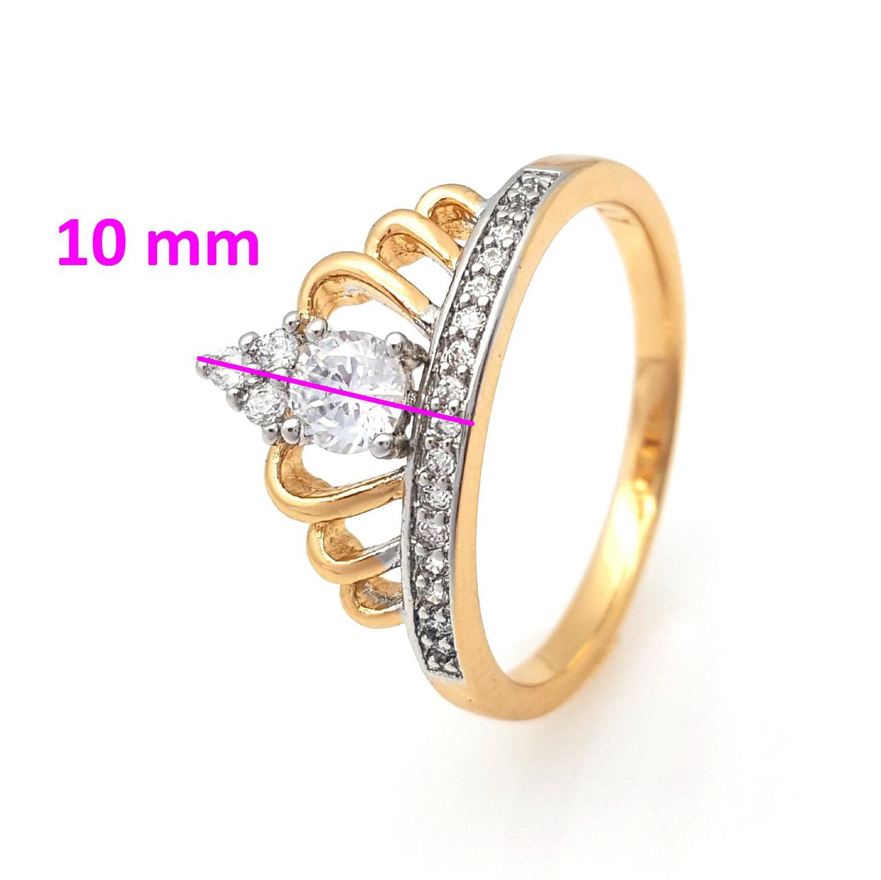 Кольцо Корона с камнями,  р.19, р.19,5, позолота+родий