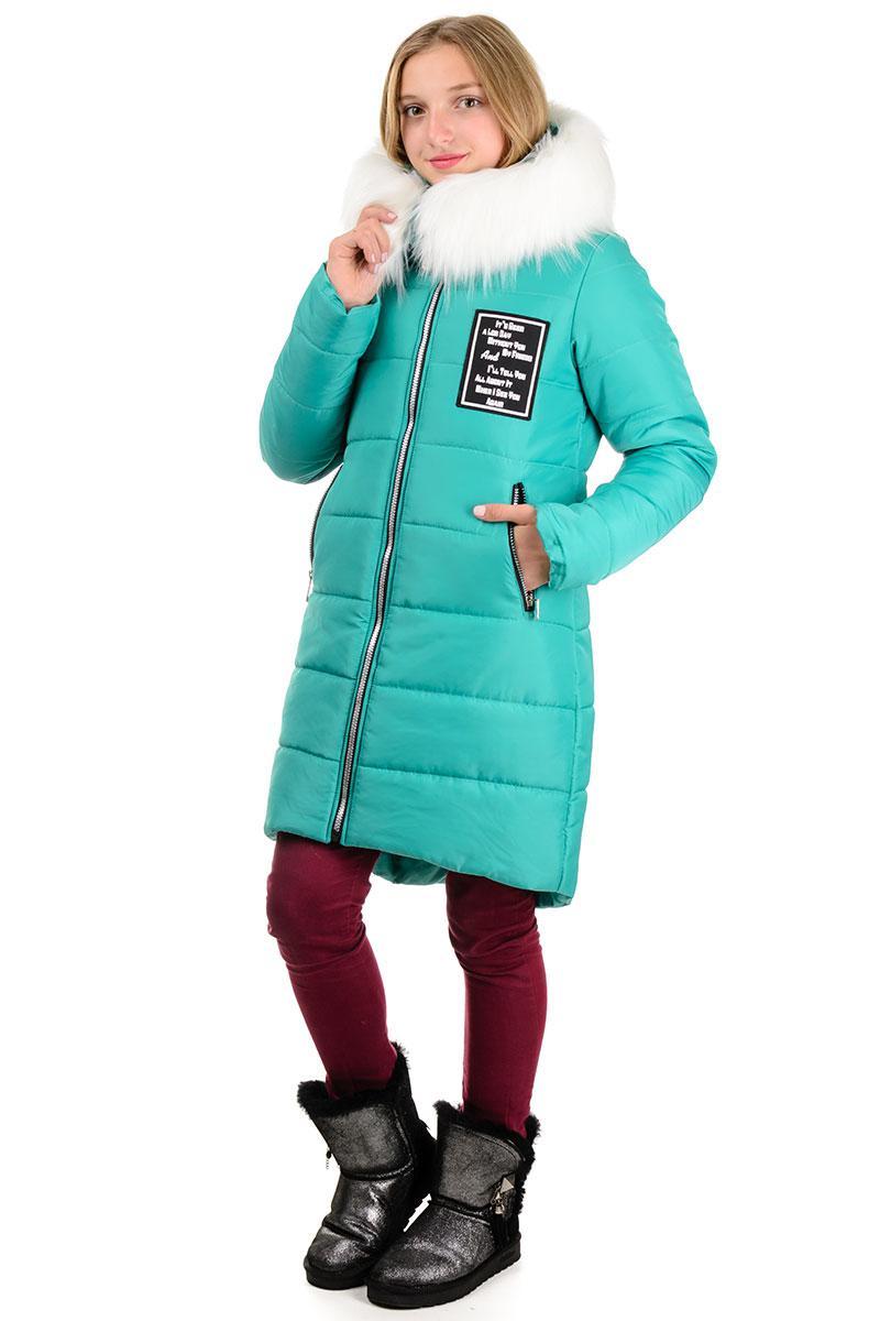 """Пальто подростковое зима  """"PARIS"""" бирюза"""