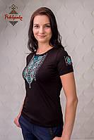 Жіноча вишита футболка Лоза бірюзова, фото 1