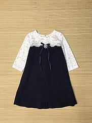Платье школьное с белым гипюром Размеры 134, 152