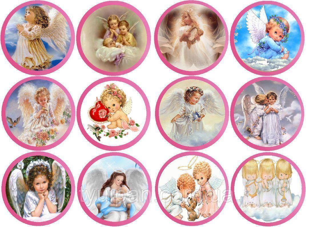 Вафельная картинка ангелочки , для кексов 6