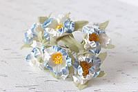 Декоративные цветочки магнолии 6 шт. 3 см бело-голубого цвета, фото 1