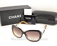 Женские солнцезащитные очки Chanel цветные коричневые модный хит сезона качество люкс ААА Шанель реплика