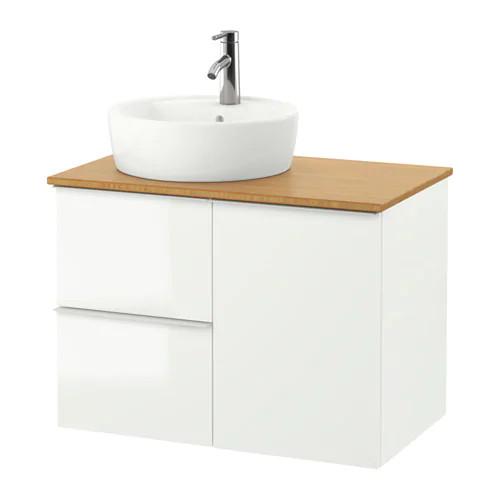 Шкаф с раковиной IKEA GODMORGON / TOLKEN / TÖRNVIKEN 82x49x74 см с ящиками глянец белый бамбук 691.911.01