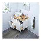 Шкаф с раковиной IKEA GODMORGON / TOLKEN / TÖRNVIKEN 82x49x74 см с ящиками глянец белый бамбук 691.911.01, фото 2