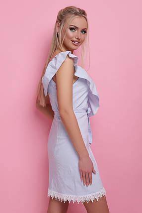 Нежное платье на лето по фигуре на запах с воланами без рукав голубая полоса, фото 2