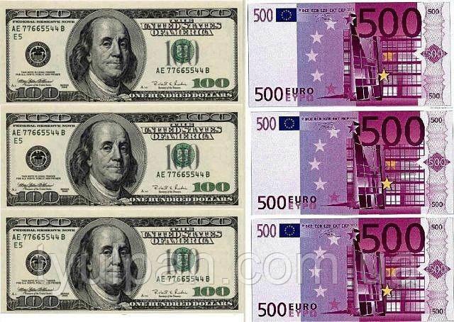 Вафельная картинка деньги купюры доллары евро гривна