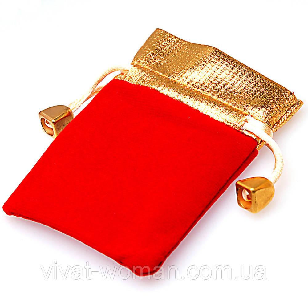 Мешочки ювелирные бархат (вельвет) красный с золотым верхом 7х9 см, 10 шт в уп.