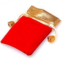 Мешочки ювелирные бархат (вельвет) красный с золотым верхом 7х9 см, 10 шт в уп., фото 1