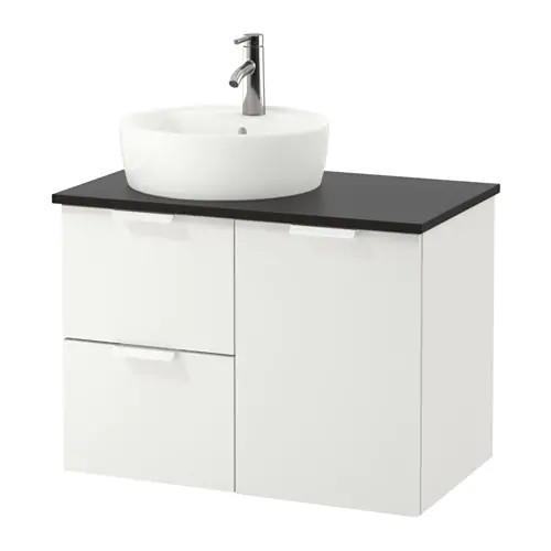 Шкаф с раковиной IKEA GODMORGON / TOLKEN / TÖRNVIKEN 82x49x74 см с ящиками белый антрацит 191.910.71