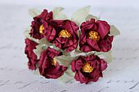 Декоративные цветочки магнолии 6 шт. 3 см темно-красного, бордового цвета, фото 1