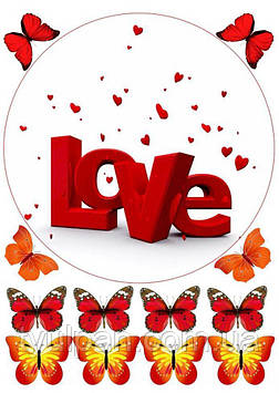 Вафельная картинка ко дню св валентина