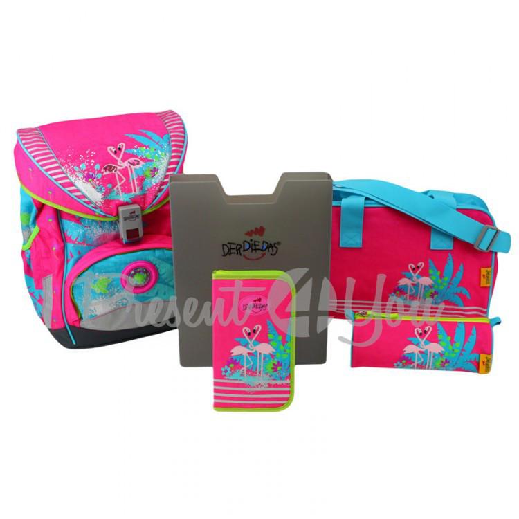Школьный ранец DerDieDas Ergoflex Flamingo «Фламинго» с наполнением (5 предметов)