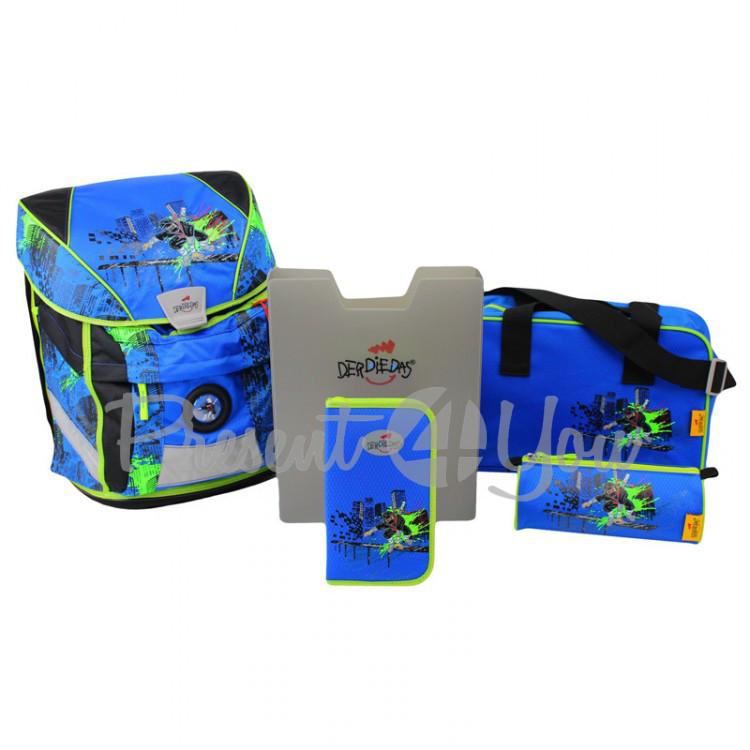 Школьный ранец DerDieDas Ergoflex Vario Ninja «Ниндзя» с наполнением (5 предметов)