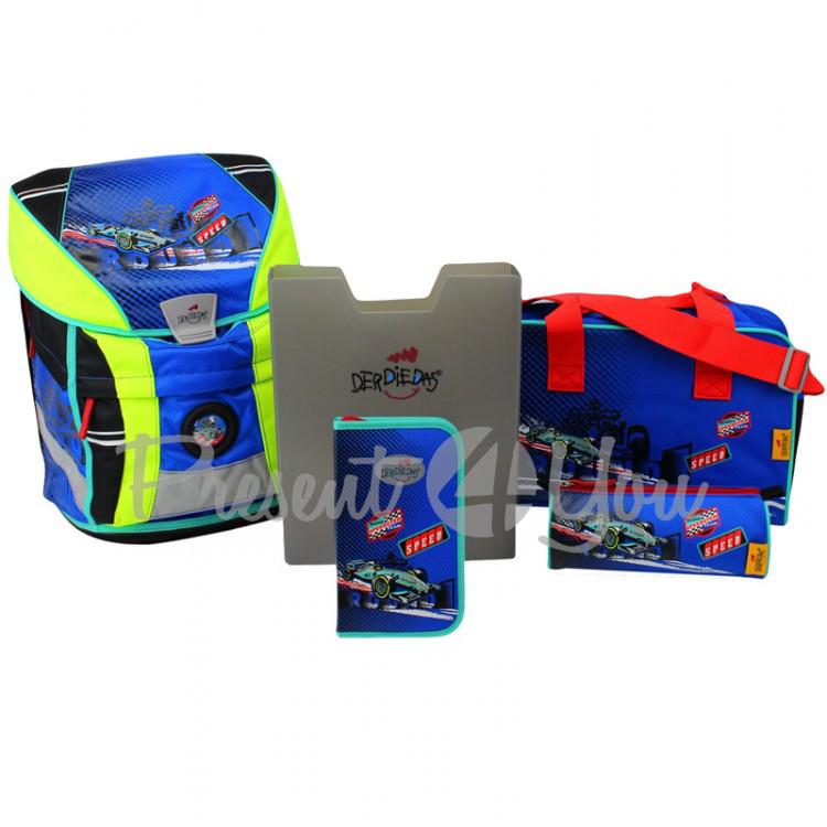 Школьный ранец DerDieDas Ergoflex Vario Racing team «Гонки» с наполнением (5 предметов)