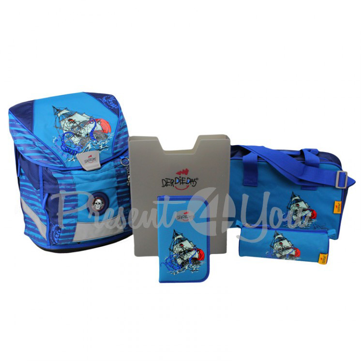Школьный ранец DerDieDas Ergoflex Blue octopus «КОРАБЛЬ» с наполнением (5 предметов)