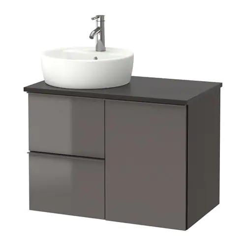Шкаф с раковиной IKEA GODMORGON / TOLKEN / TÖRNVIKEN 82x49x74 см с ящиками глянцевый серый антрацит 091.909.15