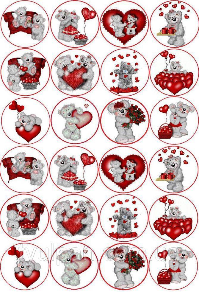 Вафельная картинка ко дню св валентина, для кексов 5