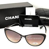 Женские солнцезащитные очки Chanel Кошачий глаз цветные коричневые стильная интеллигентная модель люкс реплика, фото 1