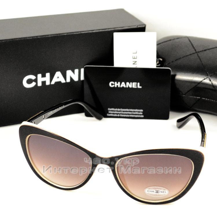 Женские солнцезащитные очки Chanel Кошачий глаз цветные коричневые стильная интеллигентная модель люкс реплика