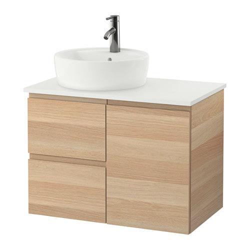 Шкаф с раковиной IKEA GODMORGON / TOLKEN / TÖRNVIKEN 82x49x74 см с ящиками под беленый дуб белый 691.931.81