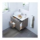 Шкаф с раковиной IKEA GODMORGON / TOLKEN / TÖRNVIKEN 82x49x74 см с ящиками глянцевый серый белый 491.931.77, фото 2
