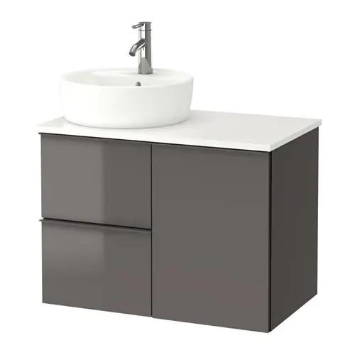 Шкаф с раковиной IKEA GODMORGON / TOLKEN / TÖRNVIKEN 82x49x74 см с ящиками глянцевый серый белый 491.931.77