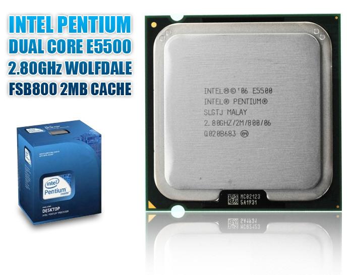 Процессор Intel Pentium E5500 2 МБ кэш-памяти, тактовая частота 2,80 ГГц, частота системной шины 800 МГц