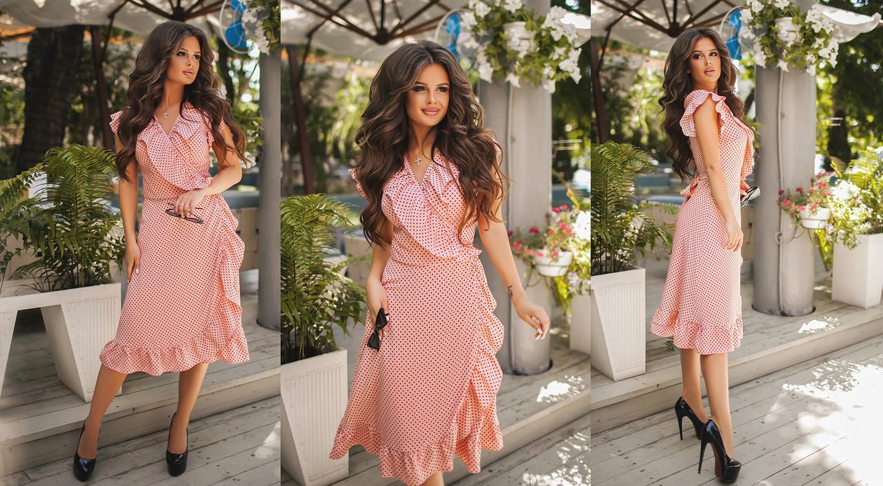 ce84d334453 Летнее шифоновое платье-халат в горошек